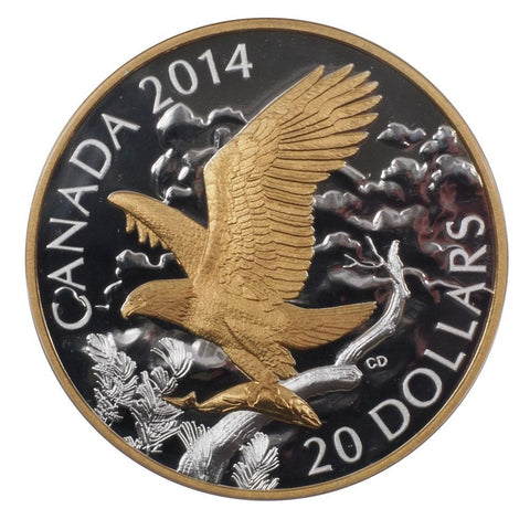 "2014 Canada $20 ""Perched Bald Eagle"" Silver Proof Coin - Gem Proof in OGP w/ COA"