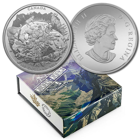 2015 Canada $200 Rugged Mountains 2.015 toz Silver - Gem in Box