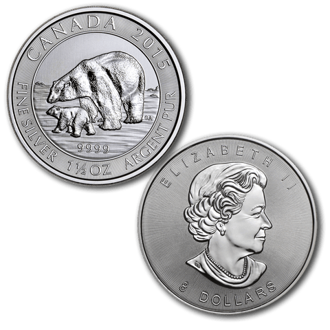 2015 Canadian $8 1.5 oz Silver Polar Bear & Cub - Gem Brilliant Uncirculated