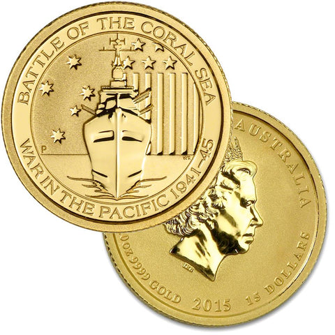 2015-P Australia $15 10th Ounce Gold Battle of The Coral Sea WW II - Gem Unc in Capusles