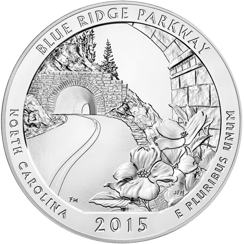 2015 Blue Ridge Parkway America The Beautiful 5 oz Silver Quarter - Gem Uncirculated