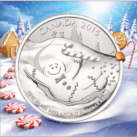 2015 Canada $20 Gingerbread Man 1/4 oz .9999 Silver Coin - Gem in Sealed Flip w/ COA