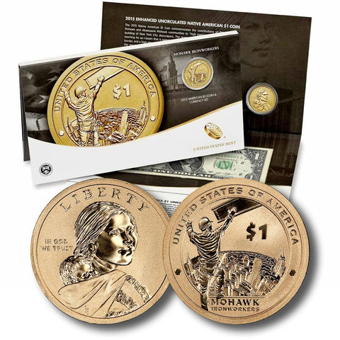 2015 Mohawk Ironworkers American $1 Coin and Currency Set