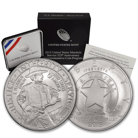 2015 U.S. Marshals 225th Silver Commemorative Dollar - Gem Uncirculated in Original Box with COA