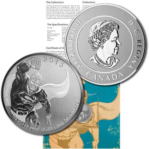2015 Canada $20 Superman 1/4 oz .9999 Sivler Coin - Gem in Sealed Flip w/ COA