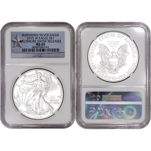 2015-W Burnished American Silver Eagle Baltimore Show - NGC MS 69