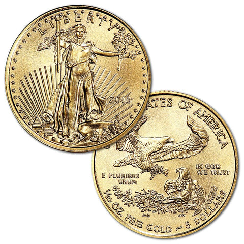 2016 $5 1/10th Ounce American Gold Eagles - PQ Brilliant Uncirculated