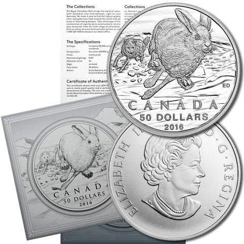 2016 Canada $50 Arctic Hare 1/2 oz .9999 Sivler Coin - Gem in Sealed Flip w/ COA