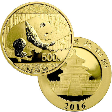 2016 China 500 Yuan 30 gram Gold Panda - Gem in Mint Plastic (Sealed)
