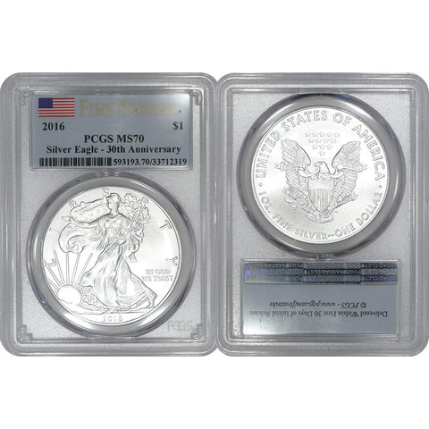 2016 American Silver Eagle 30th Anniversary - PCGS MS 70 First Strike