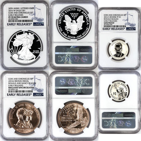 2016 Ronald Reagan Coin & Chronicles Set (Eagle, Medal, Presidential Dollar) - NGC Certified