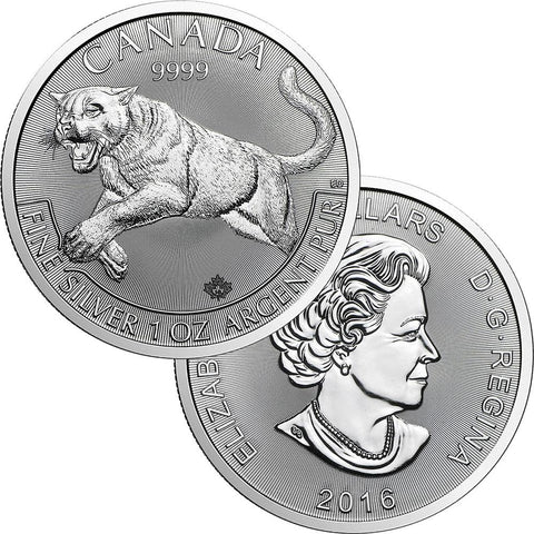 2016 Canada Predator Series Cougar  1.0 oz .9999 Silver - Brilliant Uncirculated