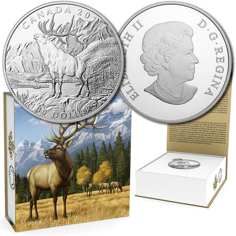 2016 Canada $100 The Noble Elk 1 oz .9999 Silver Coin - Gem in Box