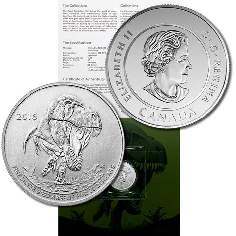 2016 Canada $20 Tyrannosaurus 1/4 oz .9999 Sivler Coin - Gem in Sealed Flip w/ COA