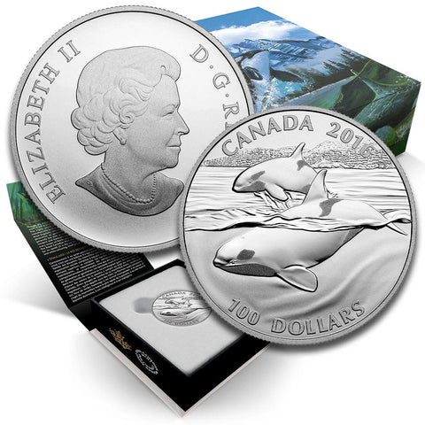 2016 Canada $100  Orca 1 oz .9999 Silver Coin - Gem in Box