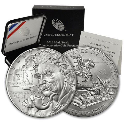 2016-P Mark Twain Silver Commemorative Dollar - Gem Uncirculated in Original Box with COA