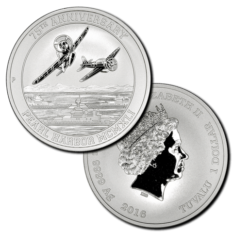 2016 Tuvalu Pearl Harbor 75th Anniversary 1 oz .9999 Silver Dollar - Gem Brilliant Uncirculated