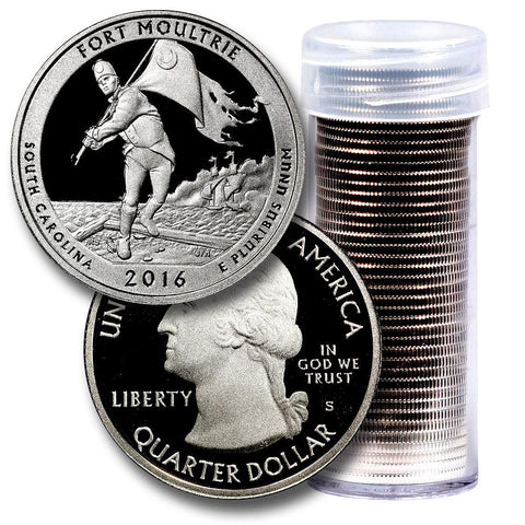 40-Coin Roll of 2016-S Fort Moultrie America The Beautiful Clad Proof Quarters - Directly From Proof Sets