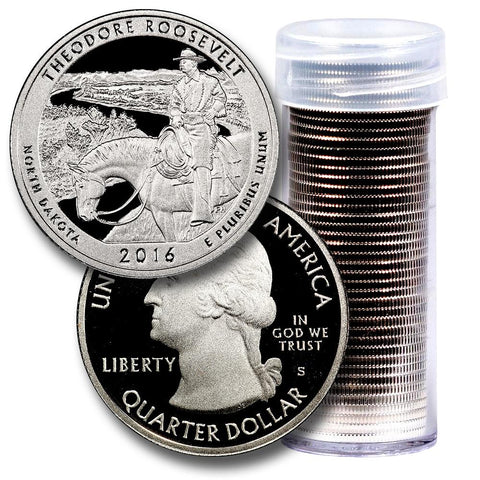40-Coin Roll of 2016-S Teddy Roosevelt America The Beautiful Clad Proof Quarters - Directly From Proof Sets