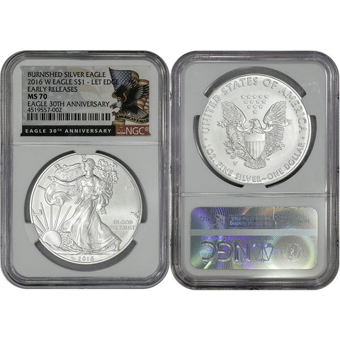 2016-W Burnished American 1 oz Silver Eagle - NGC MS 70 Early Release