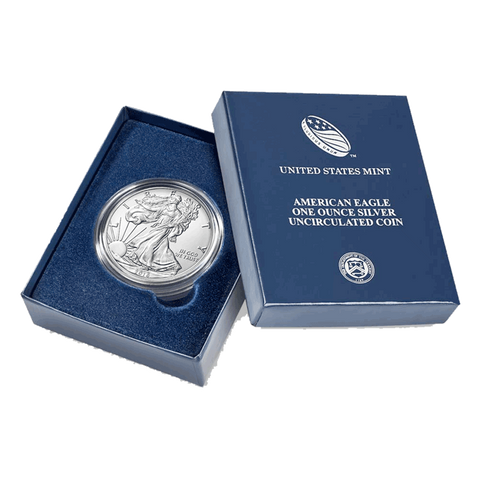 2014-W 1 oz Burnished American Silver Eagle Coin in Box with COA