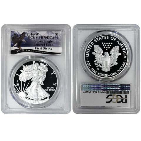 2016-W Proof American Silver Eagle Lettered Edge - PCGS PR 70 DCAM First Strike