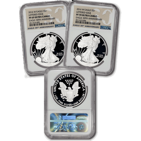 30th Anniversary 2016-W Proof American Silver Eagles in NGC PF 69 & PF 70 Ultra Cameo