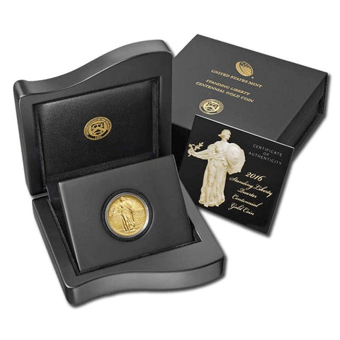2016-W Centennial Gold Standing Liberty Quarter in OGP with COA