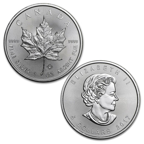 2017 1 oz Canadian Silver Maple Leaf $5 Coin 1 Troy Ounce 9999 Fine Silver