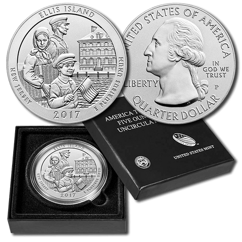 2017-P Ellis Island America The Beautiful Silver Burnished 5 oz Quarter - Gem in OGP