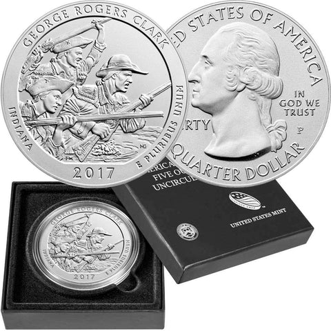 2017-P George Rogers Clark America The Beautiful Silver Burnished 5 oz Quarter - Gem in OGP