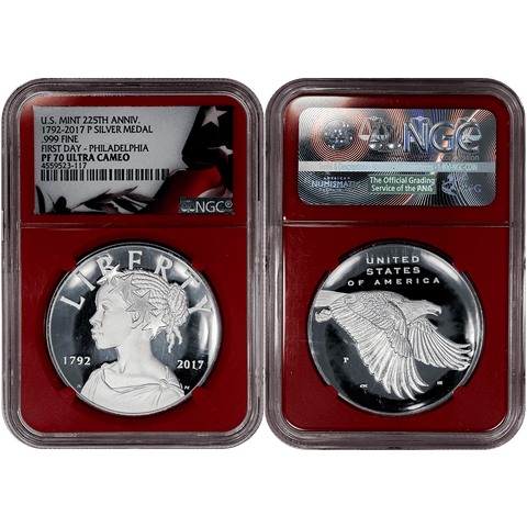 2017-P American Liberty 225th Anniversary 1 oz Silver Proof Medal NGC PF 70 UCAM First Day of Issue