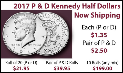 2017 P & D Kennedy Half Dollars Now Shipping - PQ Brilliant Uncirculated