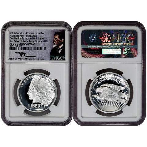 2017 Saint Gaudens High Relief Silver Double Eagle Indian - NGC PF 70 Ultra Cameo