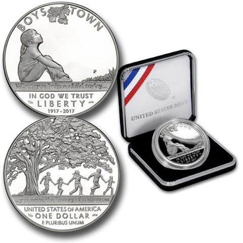 2017-P Boys Town Centennial Proof Silver Dollar - Gem Proof in OGP w/ COA
