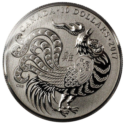 "2017 Canadian $10 ""Year of the Rooster"" Silver Proof Coin - Gem Proof in OGP"