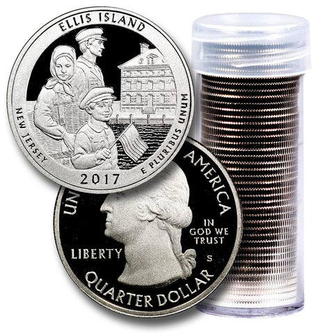 40-Coin Roll of 2017-S Ellis Island America The Beautiful Clad Proof Quarters - Directly From Proof Sets