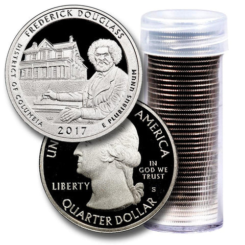 40-Coin Roll of 2017-S Frederick Douglass America The Beautiful Clad Proof Quarters - Directly From Proof Sets