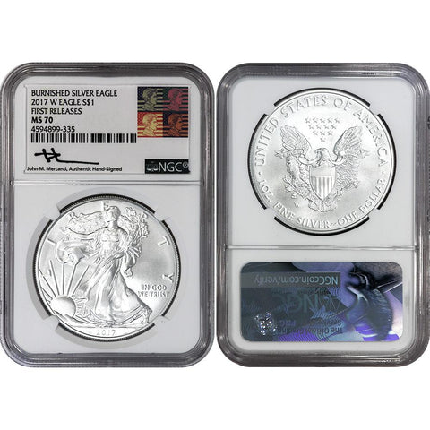 2017-W Burnished American Silver Eagle - NGC MS 70 Mercanti Signature