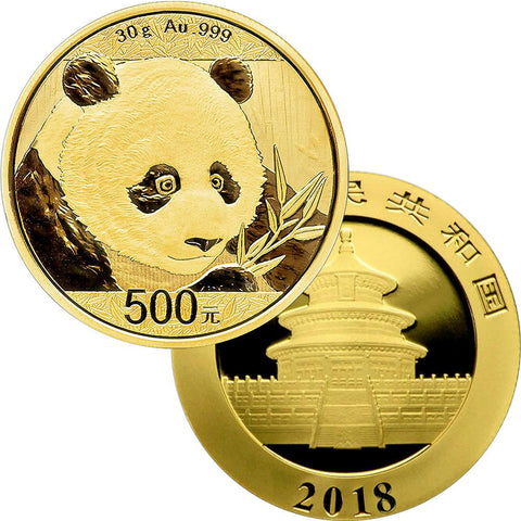 2018 500 Yuan 30 Gram Gold Panda - Gem Uncirculated in Mint Plastic