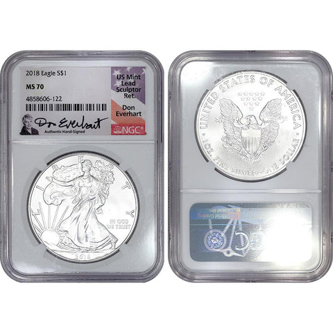2018 American Silver Eagle - NGC MS 70 Don Everhart Signature