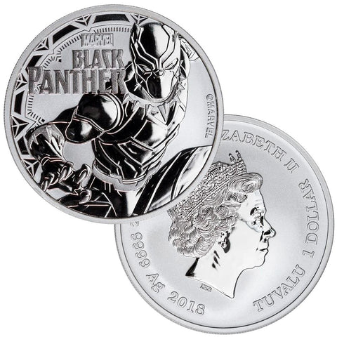 2018 Tuvalu Marvel's Black Panther 1 oz .9999 Silver Dollar - Gem BU in Capsule