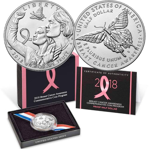 2018-S Breast Cancer Awareness Proof Clad Half Dollar - Gem Proof in OGP