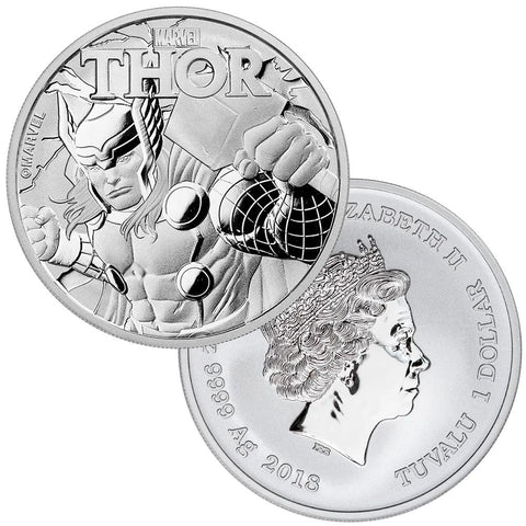 2018 Tuvalu Marvel's Thor 1 oz .9999 Silver Dollar - Gem BU in Capsule