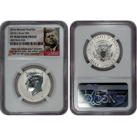2018-S Reverse Proof Silver Kennedy Half - NGC PR 70 Reverse Proof