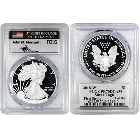 2018-W Proof American Silver Eagle - PCGS PR 70 DCAM Mercanti First Strike