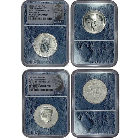 2019-S Apollo 11 50th Anniversary Proof Half Dollar Set - NGC PF 70 Moon Slab
