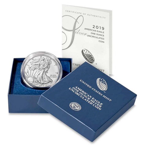 2019-W 1 oz Burnished American Silver Eagle Coin in OGP w/ COA