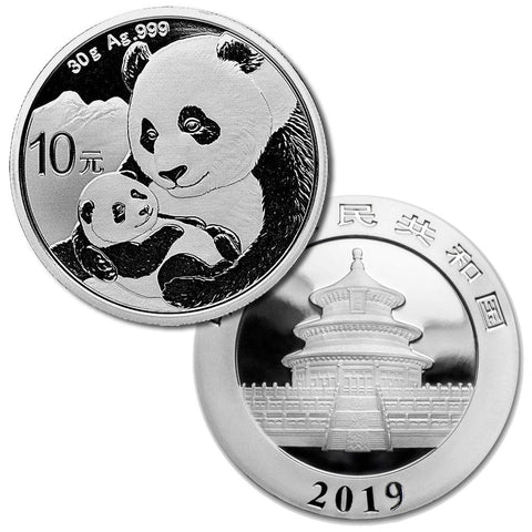 2019 China 10 Yuan Silver Panda 30g .999 Silver - Gem Brilliant Uncirculated (In Capsule)