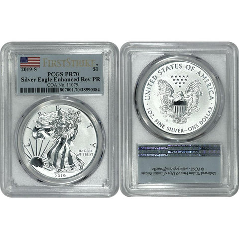 2019-S American Silver Eagle Enhanced Reverse Proof - PCGS PR 70 First Strike